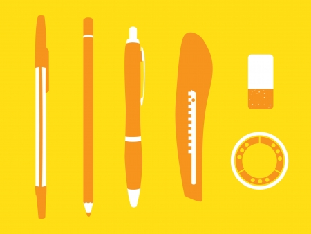 pen pencil cutter eraser and tape - illustration  Vector