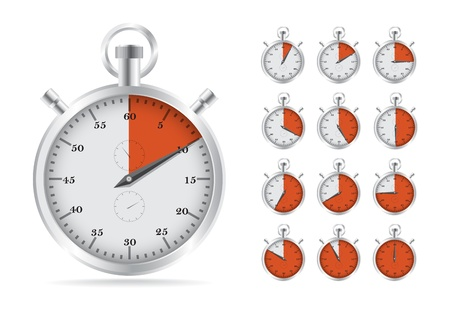 Realistic illustration of old fashioned analog stopwatch