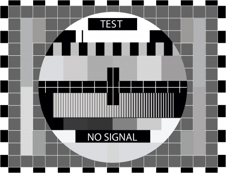 test pattern: TV color test only in black and white color - illustration
