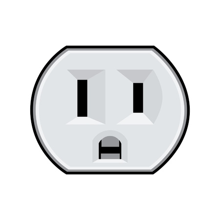 electrical outlet: U.S. electric household outlet isolated - illustration Illustration