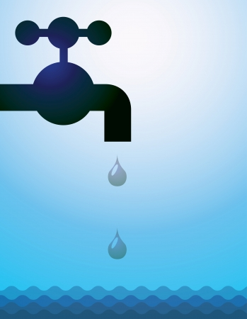 plumbing supply: water tap, drops and water - illustration