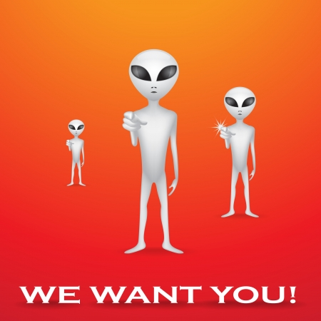 hoax: We want you, alien recruitment poster - illustration Illustration