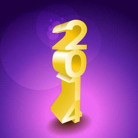 2014 New year golden 3d sign - illustration Stock Vector - 21904449