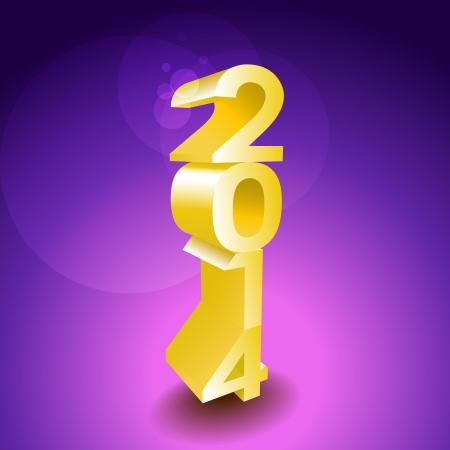 2014 New year golden 3d sign - illustration Stock Vector - 21904449