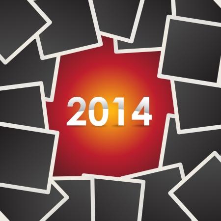 2014 on background of photo snapshots - illustration Vector