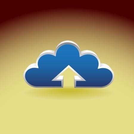 uploading: Servizio cloud, nuvola simbolo caricato - illustrazione