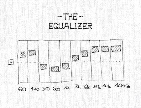 equalizer sliders: Hand drawn equalizer with sliders - illustration Illustration