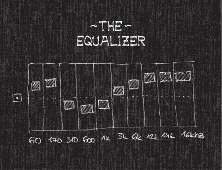 Hand drawn equalizer by chalk on black board - illustration