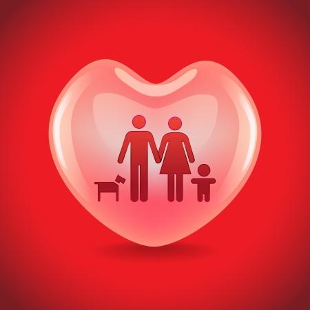 A basic family in big heart symbol, illustration Vector