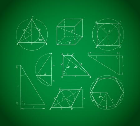 dimensions: Geometric shapes and elements with dimensions on a green table -illustration