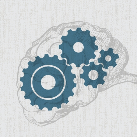 Transparent human brain sketch with cogs  gears  - illustration Vector