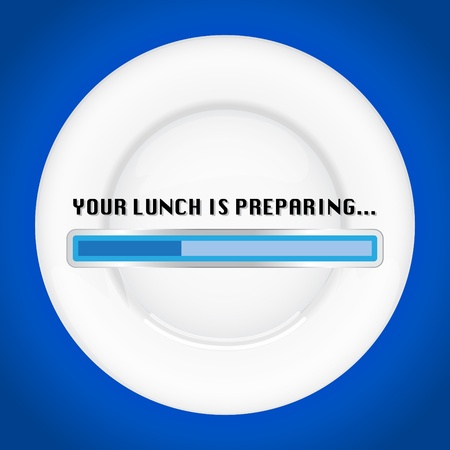 Empty plate waiting for a lunch, with progress bar - illustration Stock Vector - 21904760