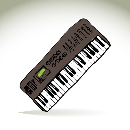 keyboard player: Music midi master keyboard - illustration Illustration