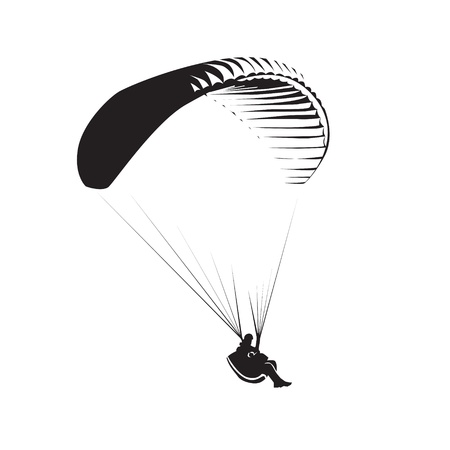 Paragliding theme, parachute controlled by a person Иллюстрация