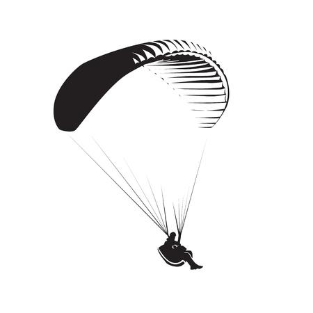deslizamiento: Tema parapente, paraca?das controlado por una persona Vectores