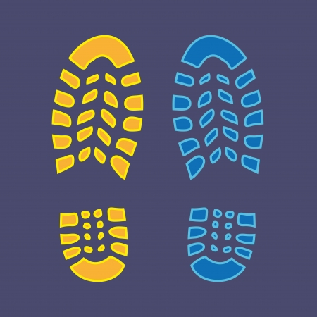 walking shoes: Shoe yellow and bloe footprint - illustration