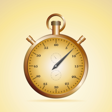 Realistic illustration of old fashioned golden stopwatch Vector