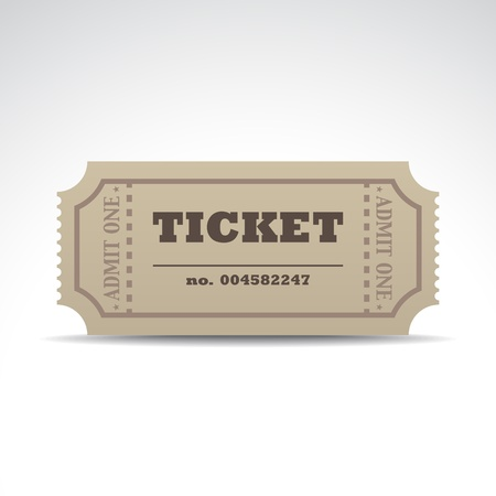 admit one: Tickets with a shadow - illustration Illustration