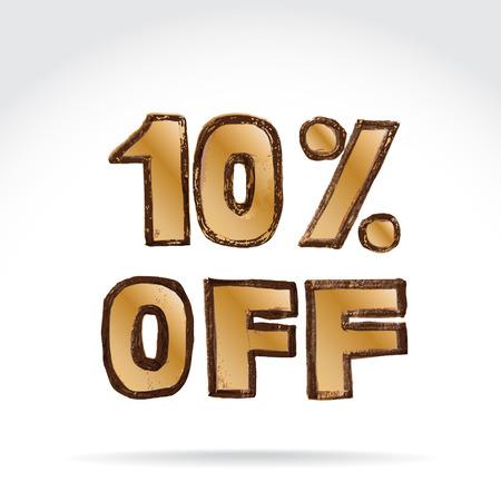 10  off sale banner, grunge illustration  Vector