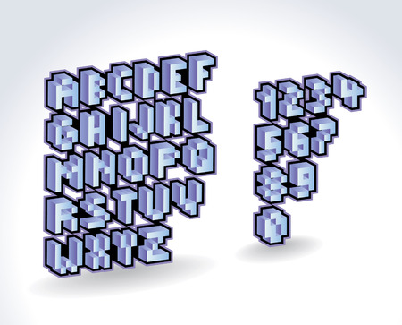 block letters: 3d pixel alphabet font and numbers  Vector