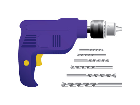drill: Drill and drill bits - illustration Illustration