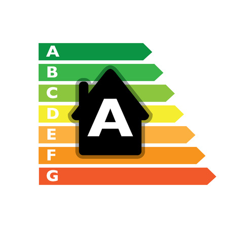 Houses efficiency label classes - illustration Vector