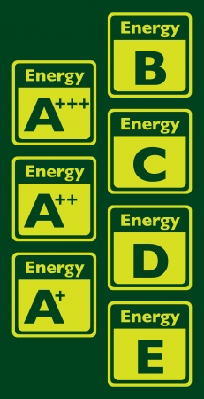Set of energy class labels - illustration Vector