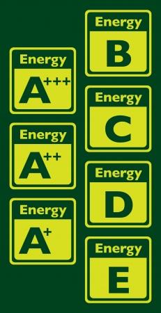 energy ranking: Set of energy class labels - illustration