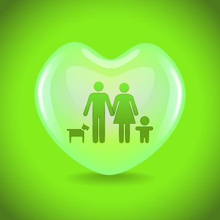 A basic family in big heart symbol, illustration Vector