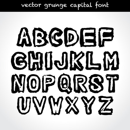Grunge type capital font. Vector. Vector