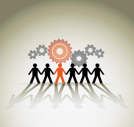 organização: Figuras humanas, conceito unidade. Ilustra��o vetorial