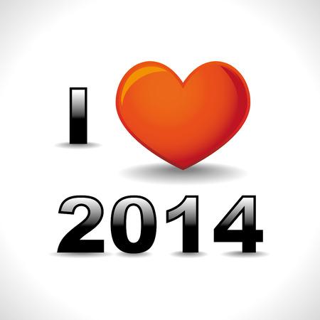 I love 2014, new year card Vector