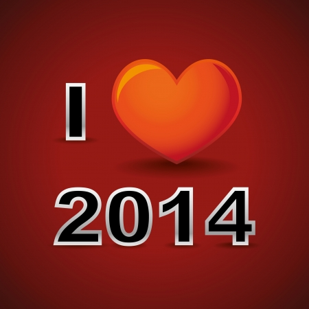 I love 2014, new year card Vector