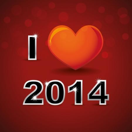 I love 2014, new year card Stock Vector - 22619790