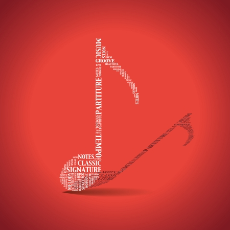 Music note created from words - illustration Vector