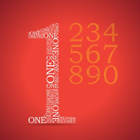 3 4: Set of numbers, each created from text tittles - illustration