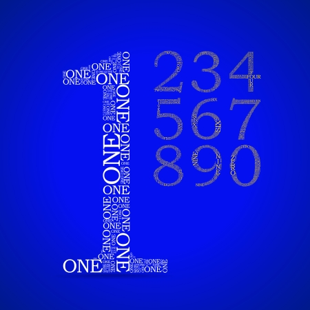 Set of numbers, each created from text tittles - illustration Vector