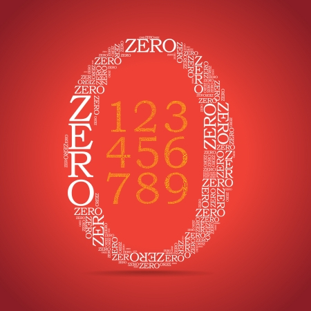 0 6: set of number created from text, inside zero symbol - illustration