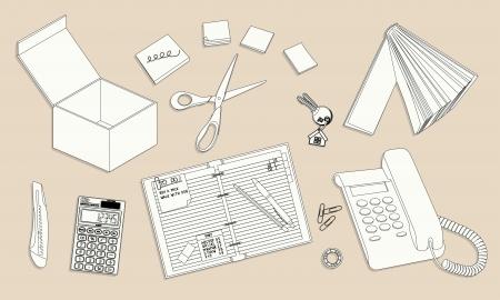 office desktop: Office desktop with equipment - outline illustration Illustration