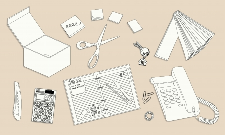 Office desktop with equipment - outline illustration Stock Vector - 22619858