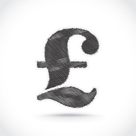 british pound: Pound symbol scribble. Vectot.