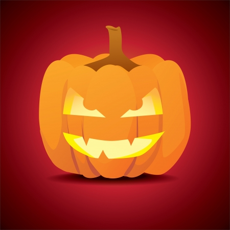 Classic scary pose of halloween pumpkin - illustration Vector