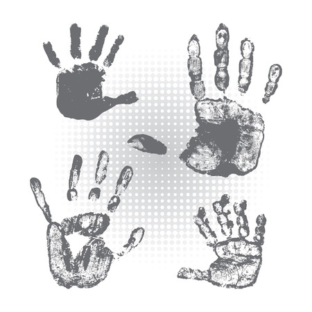 forensic science: Set of hand prints on a white background