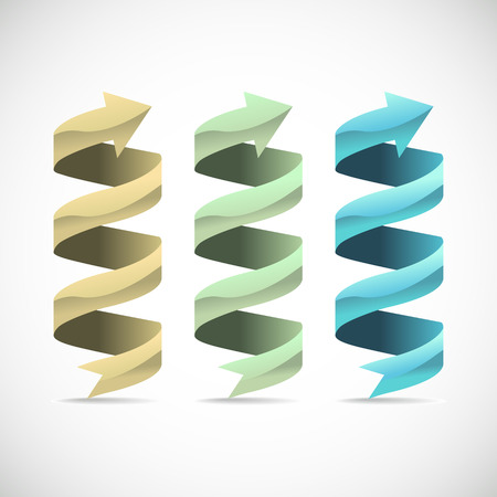wrapped around: Set of ad ribbon, 360� wrapped around own axis, illustration