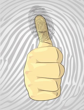 odcisk kciuka: Thumb up i odcisków palców - ilustracja Ilustracja