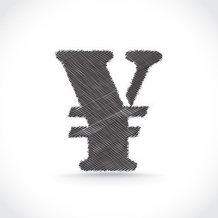 Scratched Yen symbol. Vector. Vector