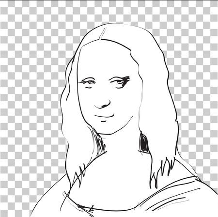 Mona Lisa Sketch dans la fenêtre DTP Banque d'images - 24912131