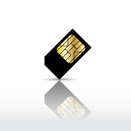 smart card: Black cell phone sim card with reflection