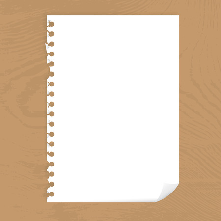 blank page: Blank page of paper with bended corner on a wooden desktop illustration