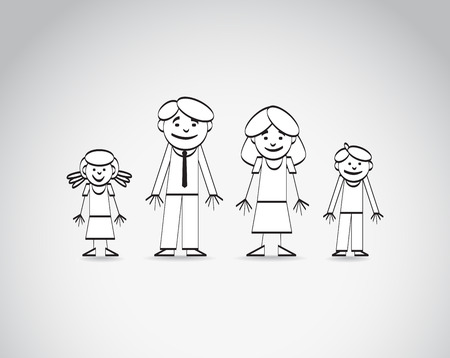 brother and sister cartoon: Outline sketch of the family. Vector image
